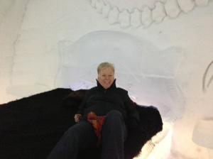 Jane sitting on an ice bed in the castle - a little cold!