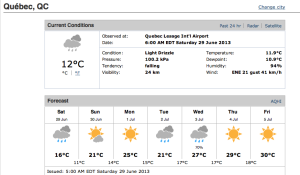 Quebec City Forecast - June 29 - July 5