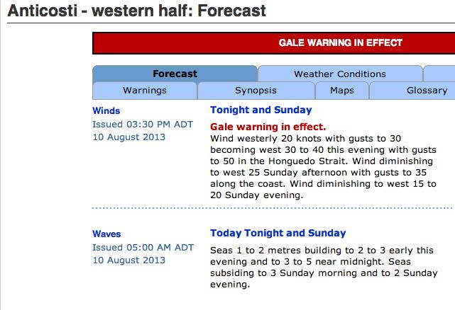 Gaspé Weather - August 10